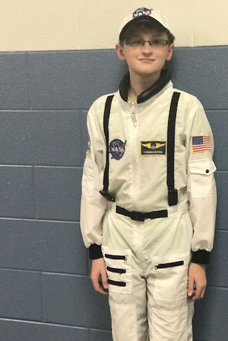 Student dressed as Neil Armstrong